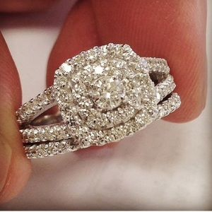 Jewelry - $2699 1 1/10ct Cushion Halo Diamond 10K Ring Set